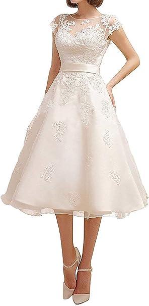 YASIOU Hochzeitskleid Vintage Spitze Kurz Standesamt Knielang V Ausschnitt T/üll Spitze A Linie Hochzeitskleider f/ür Damen