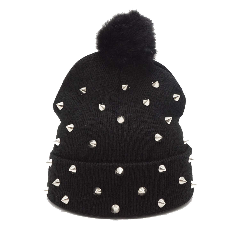 Winter Pompom Beanies Hip Hop Punk Ball Knitted Hat Warm Wool Skullies Female Cap