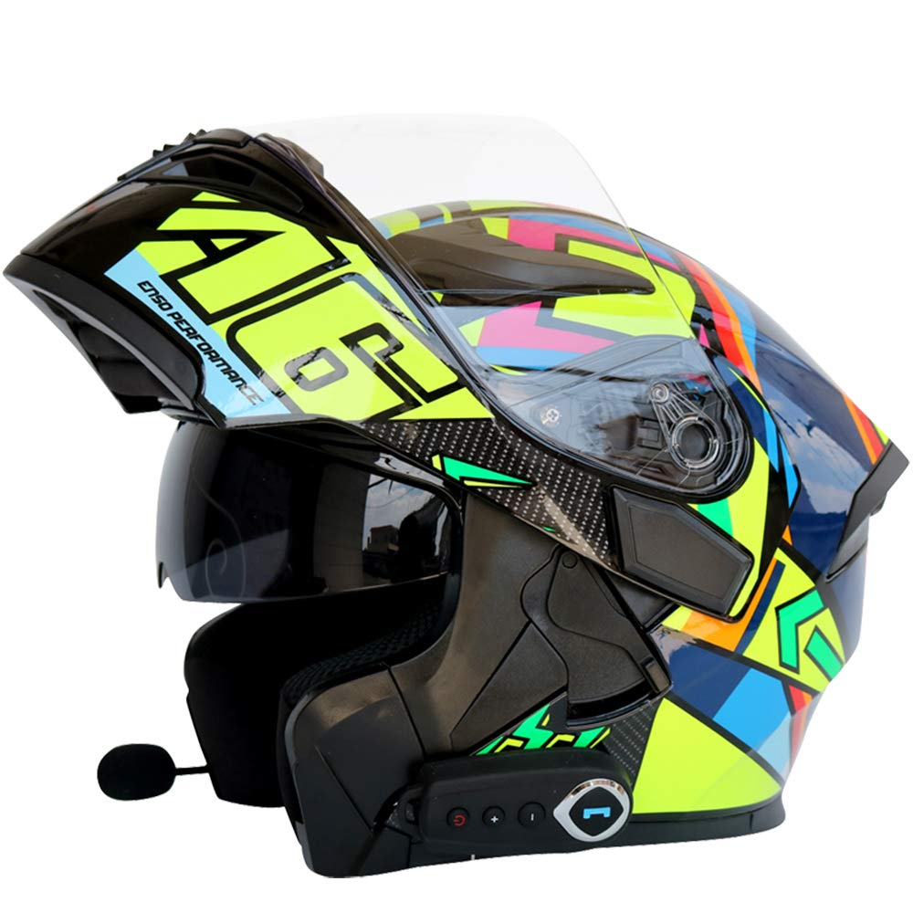 Motorcycle Bluetooth Helmet Modular Helmet D.O.T Safety Standard/Bluetooth Music/Automatic Answer/Front Anti-Fog Double Mirror with FM Open Helmet(M, L, XL, XXL) Can Choose Colour,7,XL