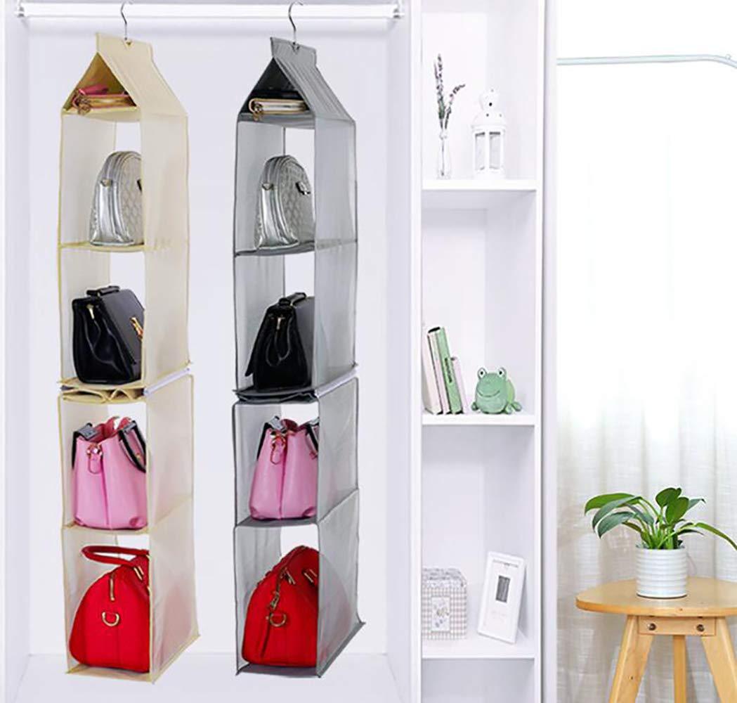 ixaer Detachable Hanging Handbag Organizer Purse Bag Collection Storage Holder Wardrobe Closet Hatstand 4 Compartment (Beige)