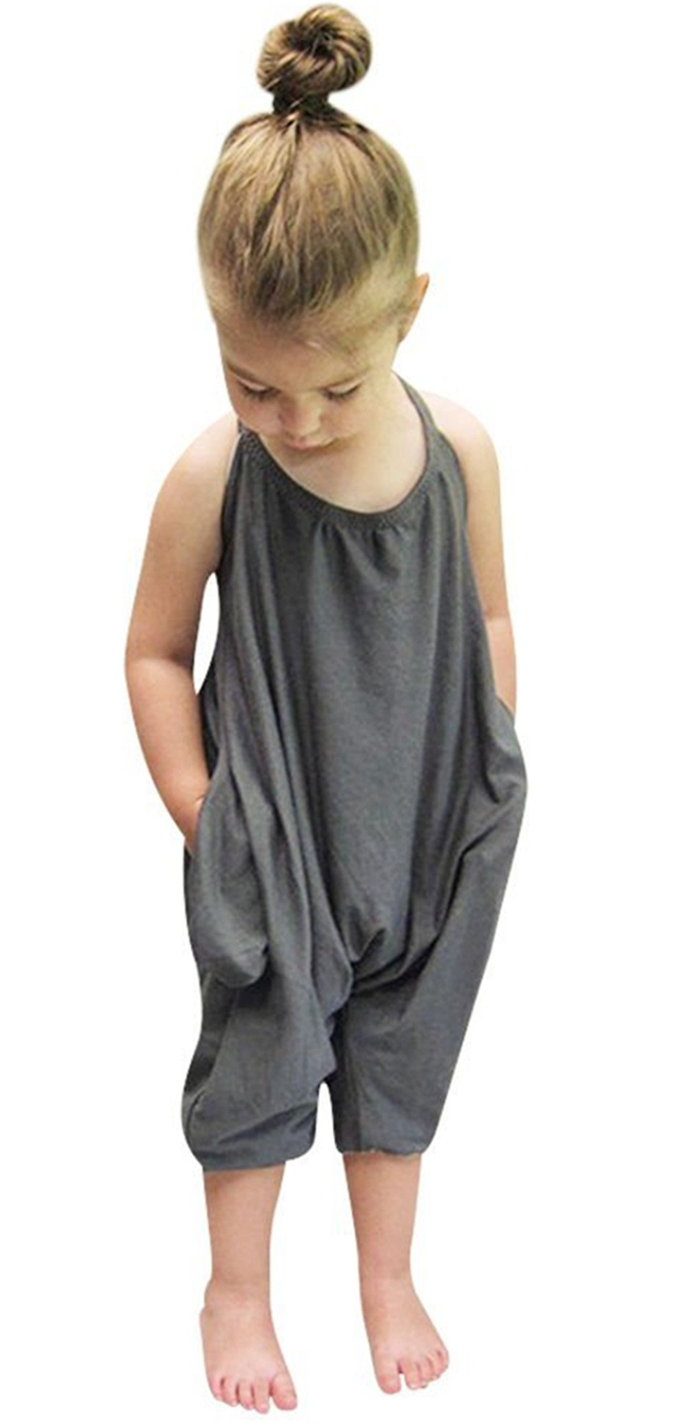 Toddler Kids Baby Girls Strap Romper Jumpsuit Harem Pant Trousers Clothes ,7-8Years,Gray