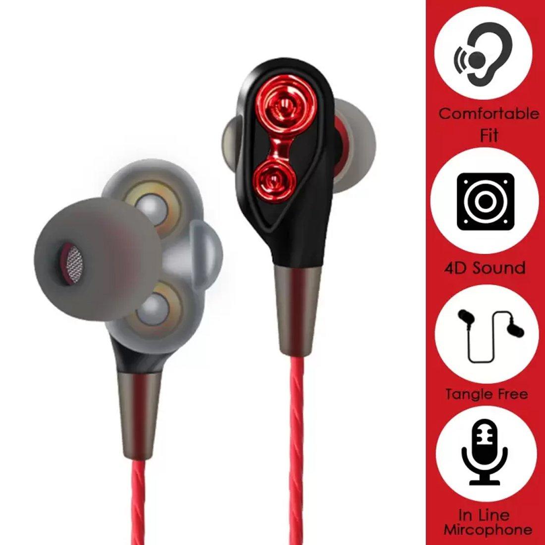 PTron Boom 4D in-Ear Wired Earphones (Red)
