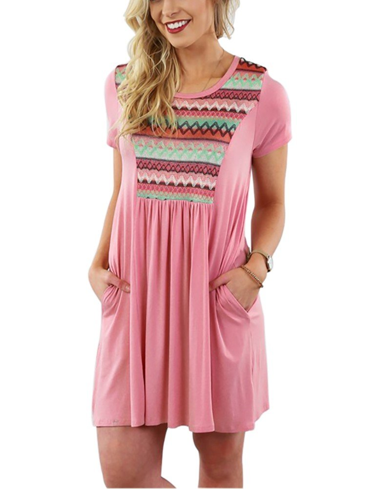 Myobe Womens Short Sleeve Lace Tunic Top Casual T-Shirt Tshirt Dress Plus Size Blouse with Pockets Knee Length(Pink,4XL