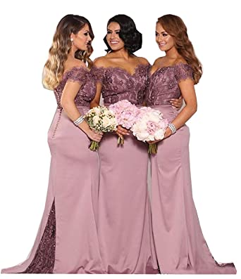 8fdadda4eb5 Fanciest Women s Lace Bridesmaid Dresses Long 2019 Formal Mermaid Maid of  Honor Gowns US2 Ash Rose