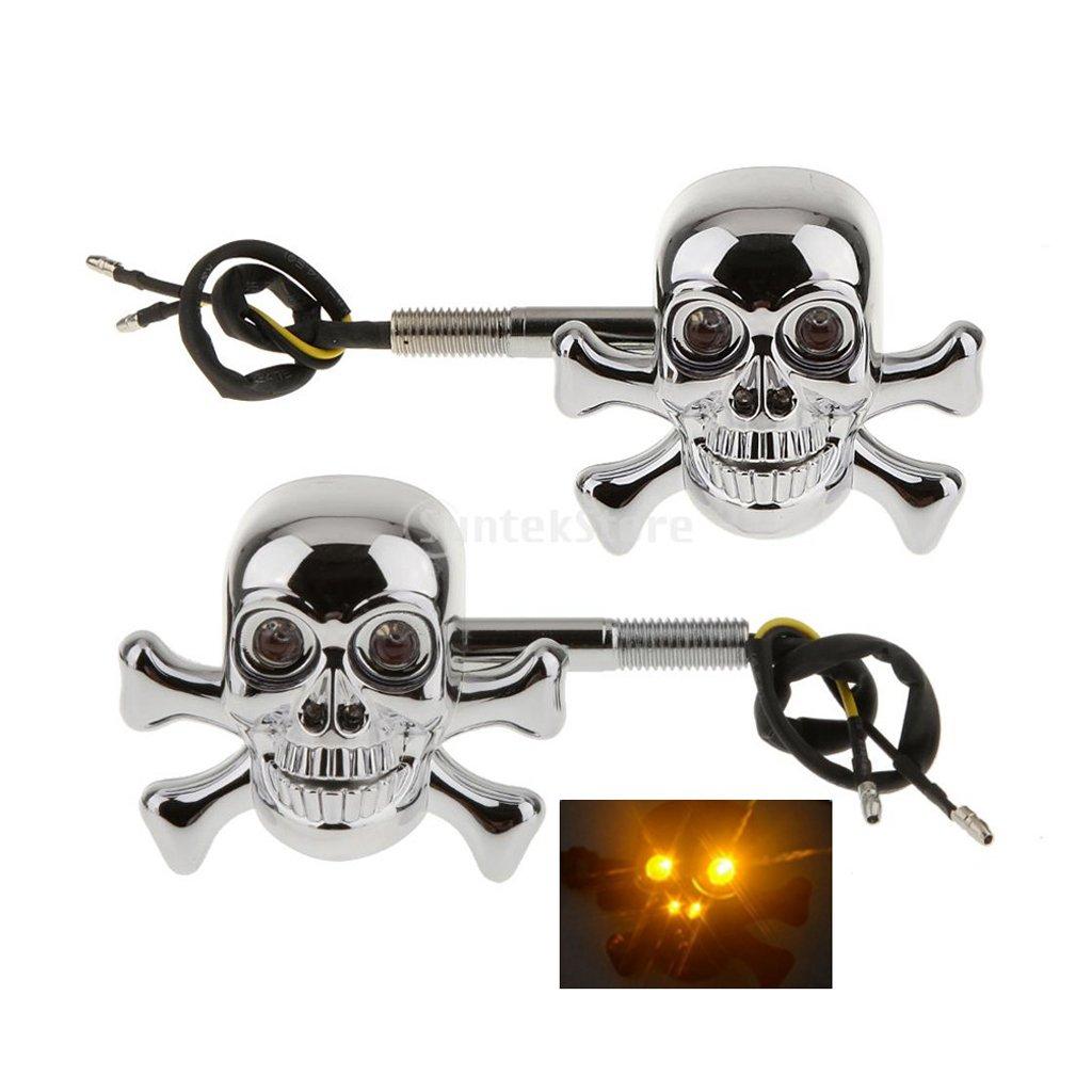 MagiDeal 2pcs Chorm/é Cr/âne Clignotants Moto Lampe De Conduit avec Poign/ée LED Lumi/ère Ambre