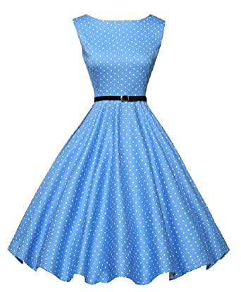 e8d38931d51e1 Molif Women Summer Dress Polka Dot Retro 50S 60S Casual Party Office Robe  Rockabilly Dresses Vestidos at Amazon Women s Clothing store