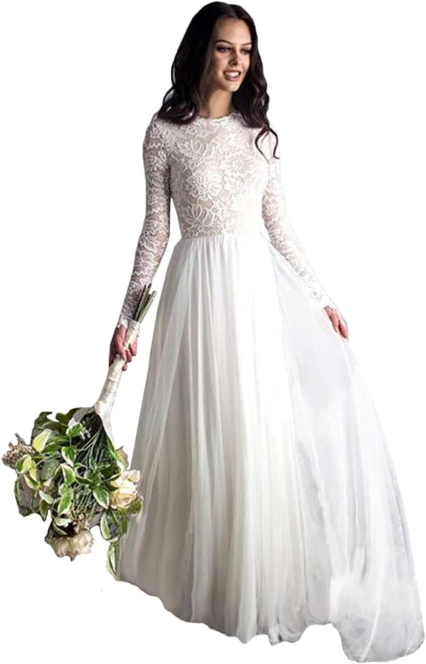 Tsbridal Beach Wedding Dress Long Sleeves Round Neck Lace Wedding Gowns