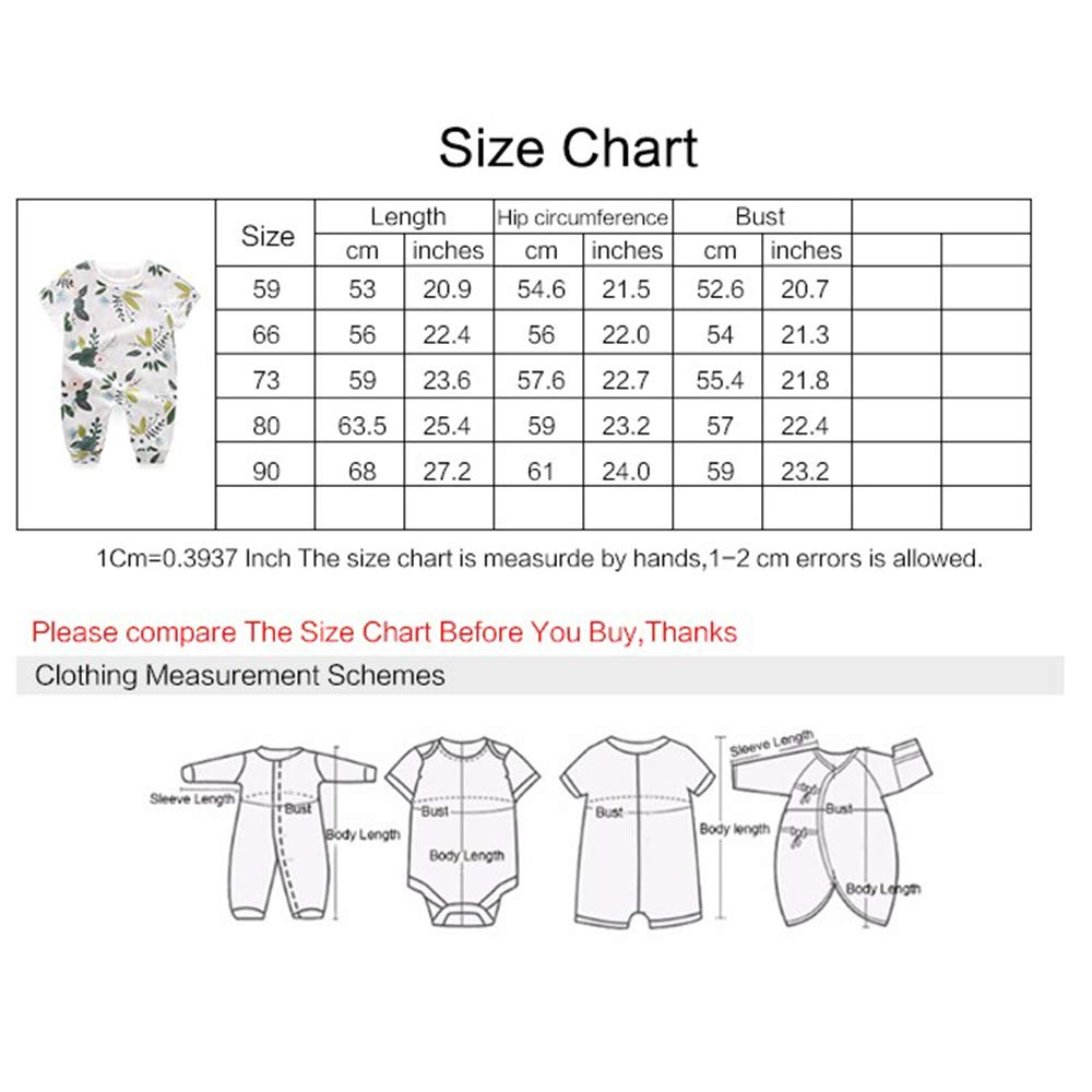 Yierying Newborn Cotton Baby Clothes Flowers Print Baby Romper
