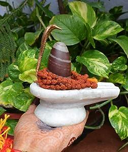 White Yoni Base Shiva Lingam with Copper Naag & Rudraksha japa Meditation mala~I-4988