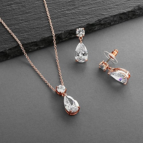 Mariell 14K Rose Gold Plated CZ Teardrop Bridal Necklace and Earring Set for Weddings, Bridesmaids & Prom by Mariell (Image #5)'