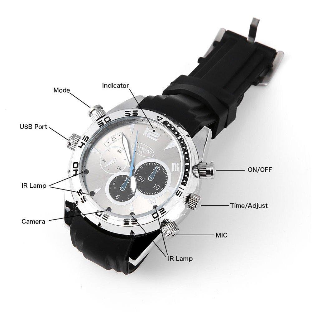 DV Montre Cach/ée Espion Full HD 1080P Espion D/étecteur de Mouvement IR Vision Nocturne /Étanche pour Vid/éos 32G Photos et Audio