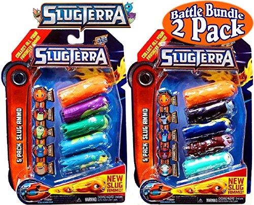 Slugterra Slug Ammo 5 Pack with Online Codes Battle Set Bundle - 2 Pack (10 Slug Ammo (Critter Blaster)