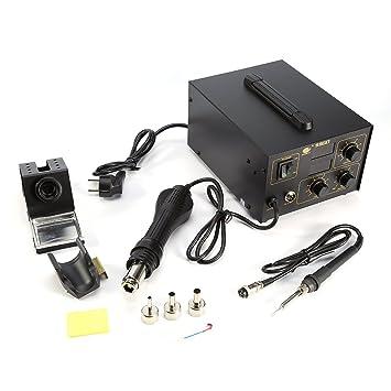 Estación de soldadura, Kit de Soldadura Soldador Electrónica Temperatura Ajustable de Aire Caliente para Reparación, 858D/ 998D (998D): Amazon.es: Bricolaje ...