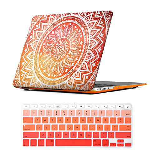 iCasso Macbook Air 13 inch Rubber Coated Soft Touch Hard Shell Protective Case Cover For Macbook Air 13 Inch Model A1369/A1466 With Keyboard Cover (Orange Medallion)