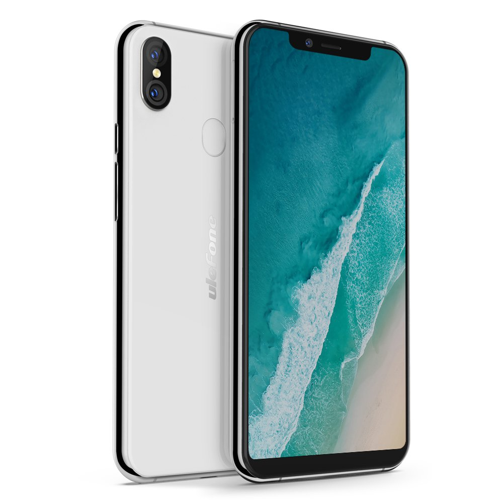 Ulefone X, Smartphone 4G Libre Portátil (2018) Android 8.1, 5.85'' 18:9 Pantalla Grande, 3300mAh, Carga Inalámbrica, OctaCore, 4GB+64GB, Doble Cámaras Traseras, Desbloqueo Facial, Doble SIM (Blanco)