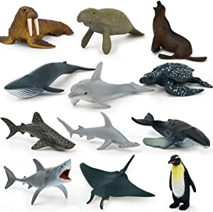 Sea Animal Toy Set,12 pcs Animal Sea Figures Ocean Toy for Kids, Children, Toddlers,Realistic Set for Sea Lovers, Includes Great White Shark , Dolphin, White Shark, Whale