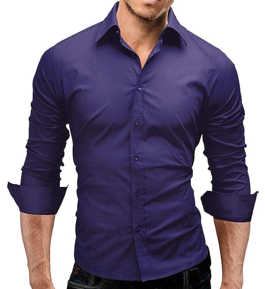M/&S/&W Mens Shirts Button Down Slim Fit Lapel Collar T-Shirts