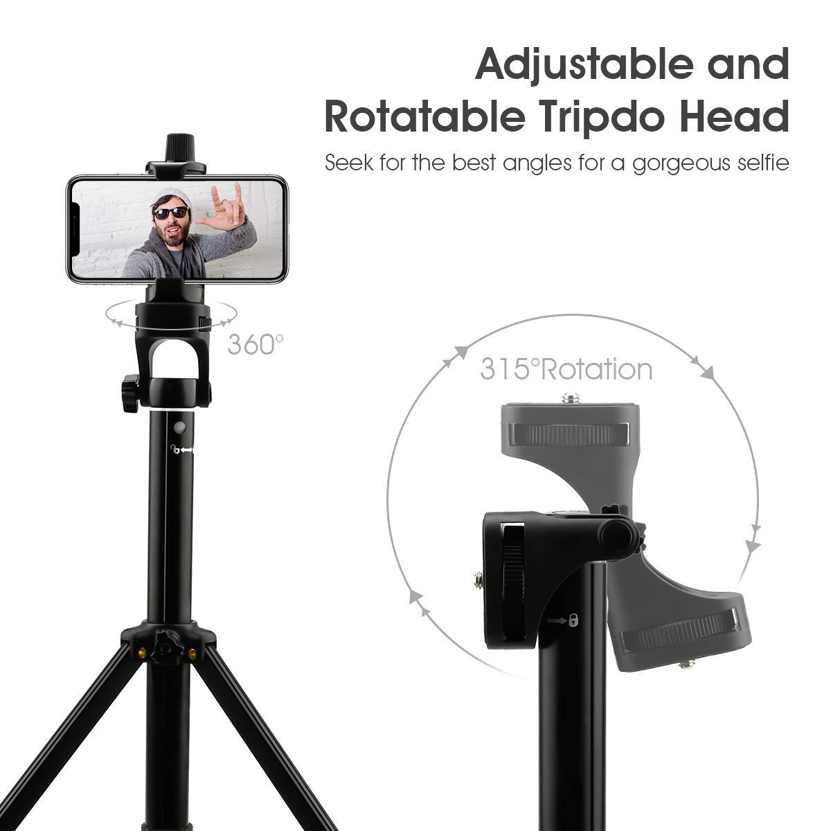 Greatangle Nuevo Xt10 Tr/ípode Selfie Stick Tel/éfono m/óvil Un Soporte telesc/ópico Temporizador autom/ático Artefacto Multifunci/ón Negro