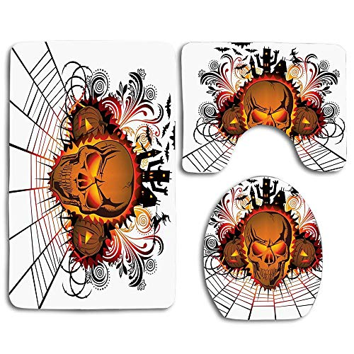 EnmindonglJHO Halloween Angry Skull Face on Bonfire Spirits of Other World Concept Bats Spider Web Design Multicolor 3pcs Set Rugs Skidproof Toilet Seat Cover Bath Mat Lid Cover Cushions Pads