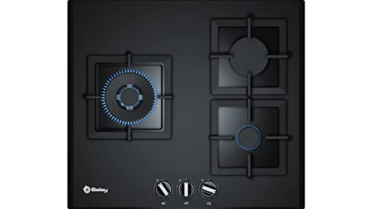 Balay 3ETG663HB - Placa de gas de cristal templado, parrillas hierro forjado, 3 quemadores, 60 cm de ancho, color negro