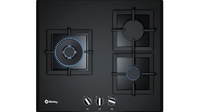 Balay 3ETG663HN - Placa de gas natural, integrable, cristal templado, hierro fundido, 2 quemadores de gas y 1 quemador wok gigante de doble anillo, ...