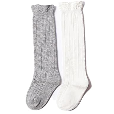 0969197d9 SWHZH Long Cotton Socks For Baby Girls Kids Knee-High Stocks 2-Pack for