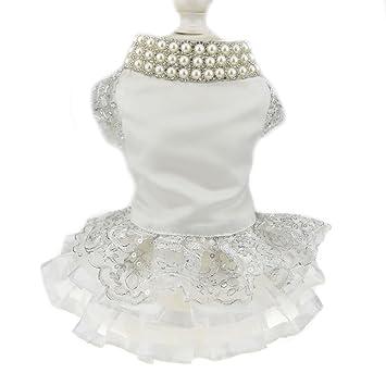 Amazon.com: Lujoso vestido de perla de encaje para perro ...
