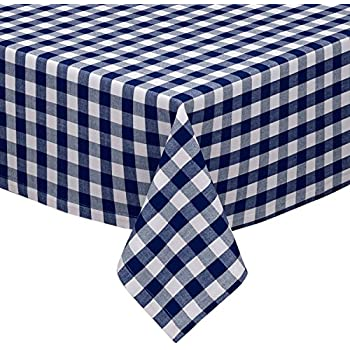 Gentil Navy And White Checkered Kitchen/Dining Room Tablecloth: Gingham/Plaid  Design, Cotton