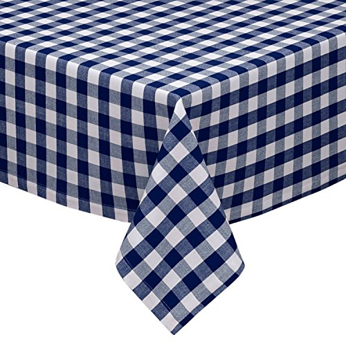 Navy and White Checkered Kitchen/Dining Room Tablecloth: Gingham/Plaid Design, Cotton Rich (58