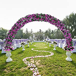 DearHouse Artificial Flower Rose Vine Garland, 8FT/Piece 2 Pack Realistic Artificial Flowers Fake Roses Flowers Plants for Home Kitchen Wedding Party Garden Craft Art Decor (Purple) 3