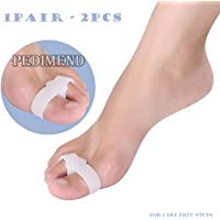2X Silicone Gel Toe Separator by PEDIMEND - Double Loop Toe Separator - Preventing Toe Overlap & Cramps - Reduce The Risk of Calluses & Corns - Unisex - Foot Care
