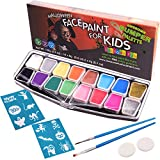 Halloween Face Paint for Kids | Face Painting Set with Stencils - Big Bumper 16-Pack. Professional Party Palette, 14 Colours, 2 Sponges, 2 Brushes, Glitter, FREE eBook Guide Safe Non-Toxic Water-Based
