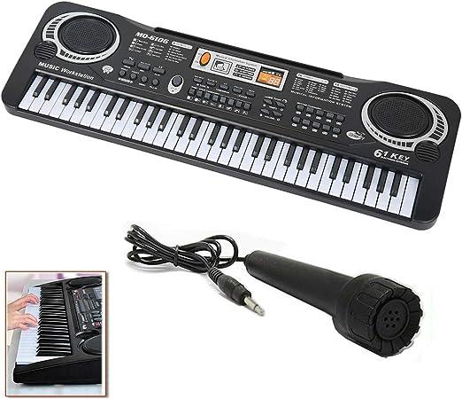 Piano digital para niños de 61 teclas con micrófono, panel ...