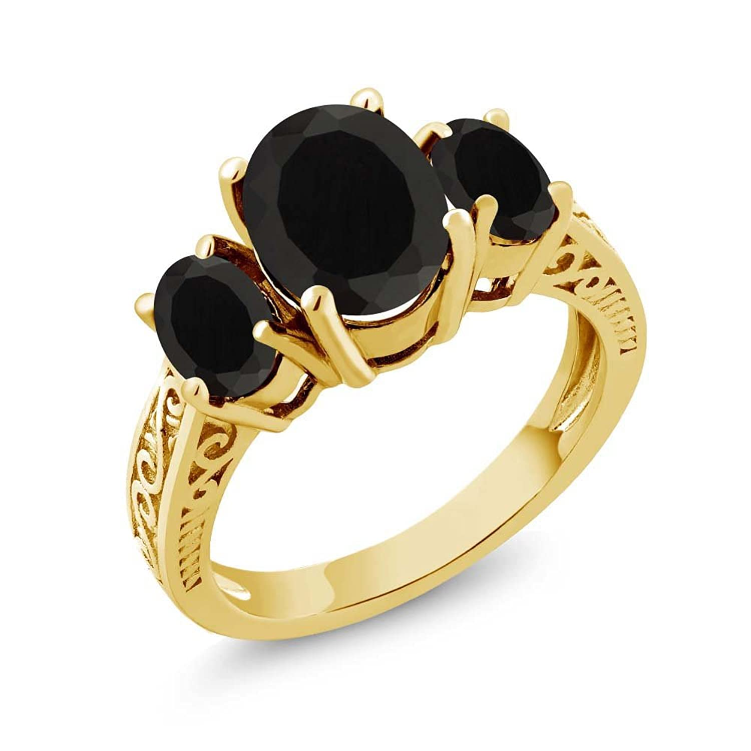2.41 Ct Oval Black AAA Onyx 925 Yellow Gold Plated Silver 3-Stone Women's Ring (Available in size 5, 6, 7, 8, 9)