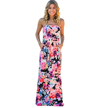 Sannysis Damen Bandeau Urlaub Langes Kleid Damen Sommer Blumen Maxi Kleid ( Multicolor, Asien Größe 13d4ef4202