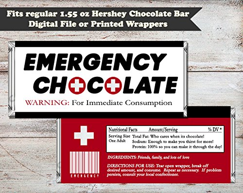 Amazon Com Emergency Chocolate Candy Bar Wrapper Set Of 10 Fun