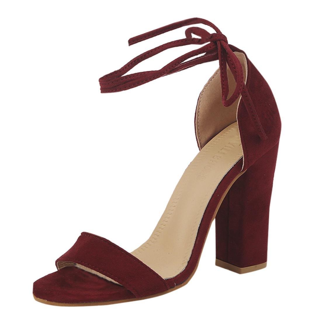 Goodtrade8® Universal Ankle Strap Platform Bohemia Sandal for Women, Wedge Bandage Wedge Women, High Heel Sandals B07CYYM75R 7.5 B(M) US Wine eaf0b8
