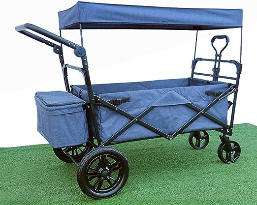 LY CROWM Carrito de Jardín Plegable, 4 Ruedas Grandes para Acampar Al Aire Libre Playa De Compras De Barbacoa, Carro De Jardín Portátil Pull Wagon 100 Kg De Capacidad, Denim Blue: Amazon.es: