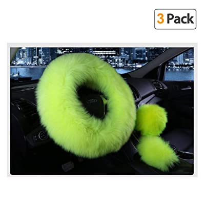 Younglingn Car Steering Wheel Cover Gear Shift Handbrake Fuzzy Cover 1 Set 3 Pcs Multi-colored with Winter Warm Pure Wool Fashion for Girl Women Ladies Universal Fit Most Car (Grass green): Automotive