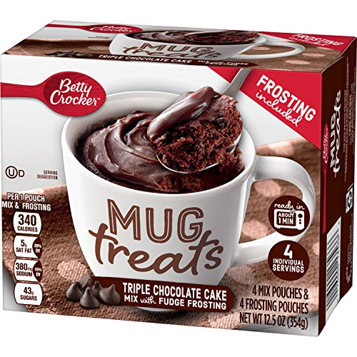 Betty Crocker Baking Mug Treats Triple Chocolate Cake Mix with Fudge Frosting, (Pack of 6)