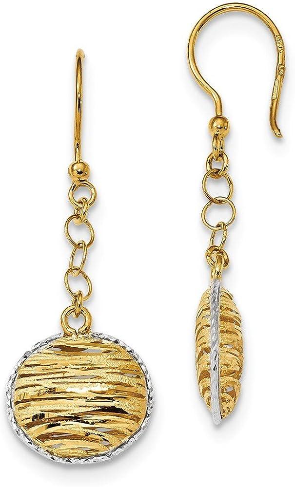Mia Diamonds 14k Gold Two-tone Diamond-cut Circle Shepherd Hook Dangle Earrings