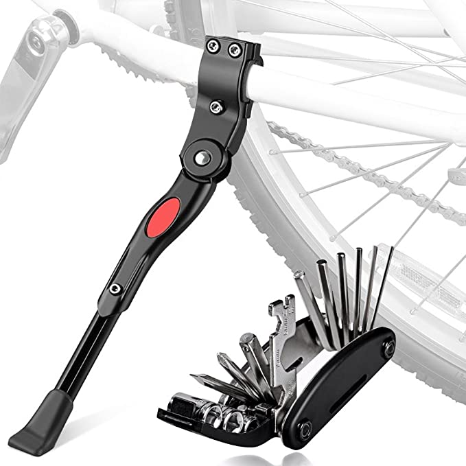 Pata de Cabra de Bicicleta con Herramienta Multifunción, Oziral Universal Ajustable Bicicleta Kickstand: Amazon.es: Deportes y aire libre