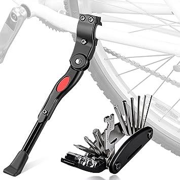Pata de Cabra de Bicicleta con Herramienta Multifunción, Oziral Universal Ajustable Bicicleta Kickstand