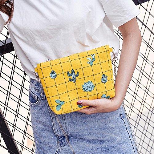 Bag Shoulder Chain Domybest Yellow Girl Messenger Canvas Women Bags Shell Printed Crossbody pvwqw7HO