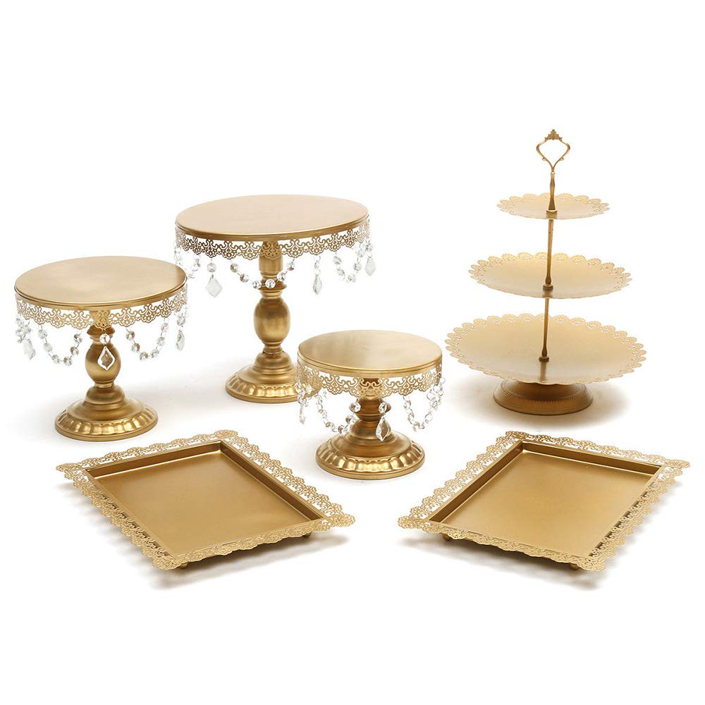 Lucky Monet 6Pcs Crystals Cake Stand Cupcake Tower Stand Wedding Plates Set Metal Round Party Dessert Display Décor with Crystals Beads (6pcs, Gold) by Lucky Monet