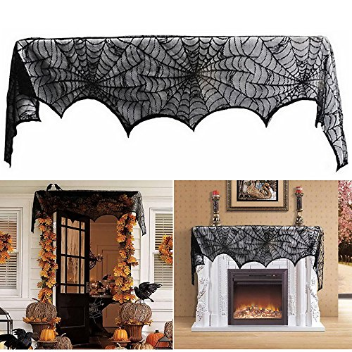 LITTLEGRASS Fireplace Scarf Cover Halloween Decoration Black Lace Spiderweb Door Curtain (Best Door Decorations For Halloween)