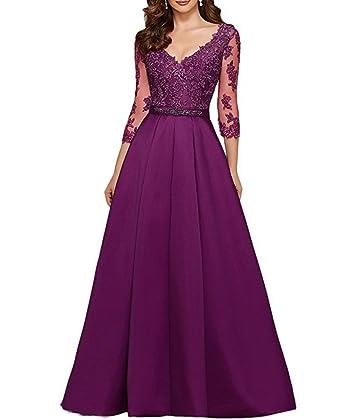 Zhongde Womens 1/2 Long Sleeves V Neck Satin Lace Floor Length Prom Dress Evening