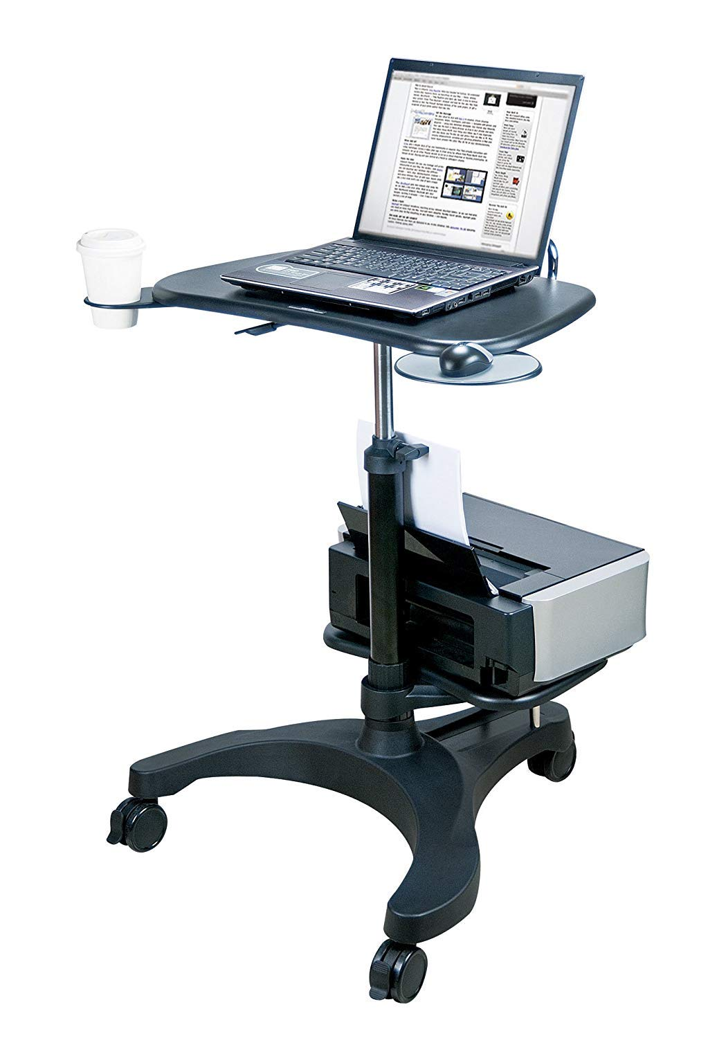 Aidata Ergonomic Sit-Stand Mobile Laptop Cart Work Station with Printer Shelf Model: LPD009P by HARRRRD