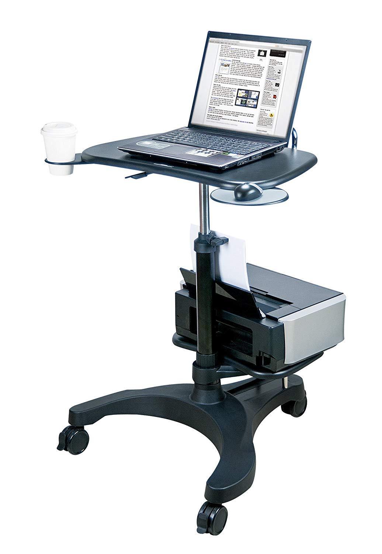 Aidata Ergonomic Sit-Stand Mobile Laptop Cart Work Station with Printer Shelf Model: LPD009P