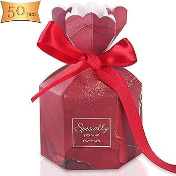 Gwolf Boda de caja de dulces, caja de regalo de 50 piezas, regalo ...